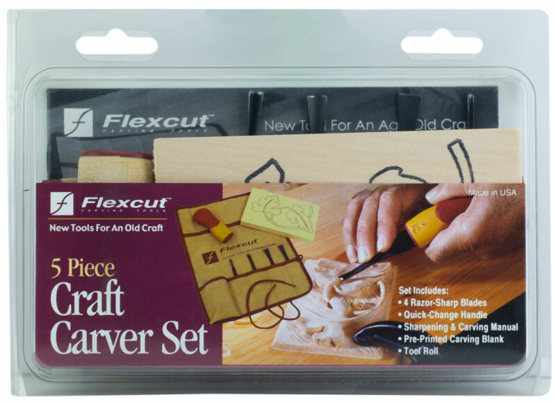 Flexcut 5 Piece Craft Carver Set 4 Razor Sharp Blades & Handle with Tool Roll