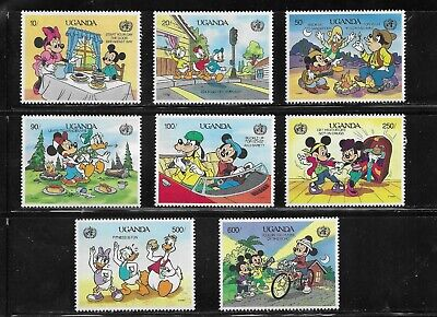 HICK GIRL- MINT UGANDA STAMPS    DISNEY   MICKEY'S  STAYING SAFE     T231