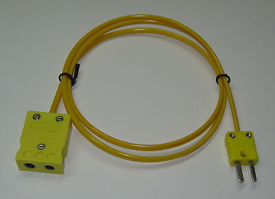 K-type Thermocouple Extension Cable Wire Standard To Miniature Connector 3-15 Ft