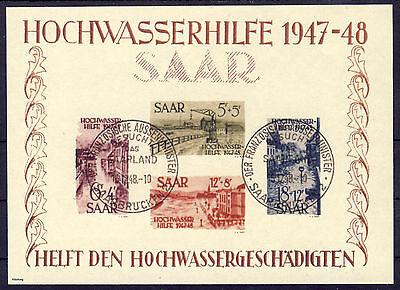 Saarland Hochwasserhilfe 1949 Block 1 gestempelt  (*) Fälschung