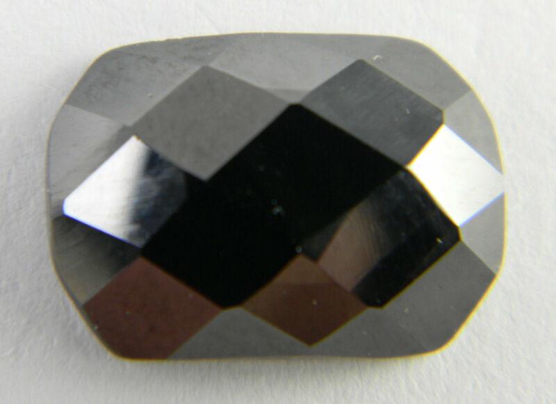 14mm x 10mm Cushion Black Hematite Faceted Checkerboard Top Flat Bottom Gemstone