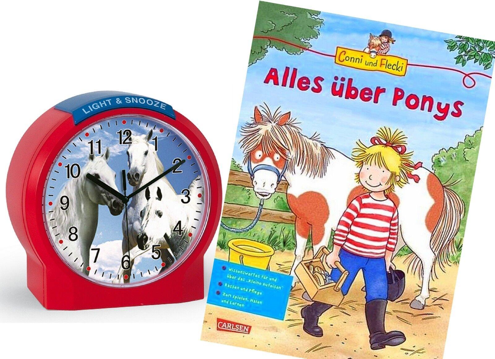 Kinderwecker Pferde Rot Mädchen + Lernbuch Connie Alles über Ponys - 1189-1 BU