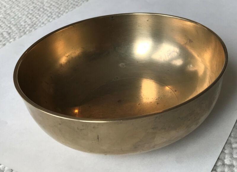 Vintage antique Korean 6¼ inch traditional brass soup bowl