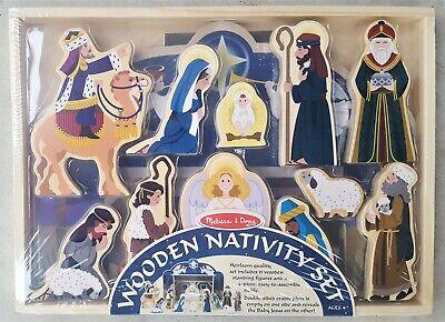New! Melissa & Doug Wooden Christmas Nativity Set - 4 Piece Stable w/11 Figures