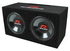 "Renegade RXV1202 12"" 1200 Watt Dual Car Audio Subwoofer with Enclosure, Pair"