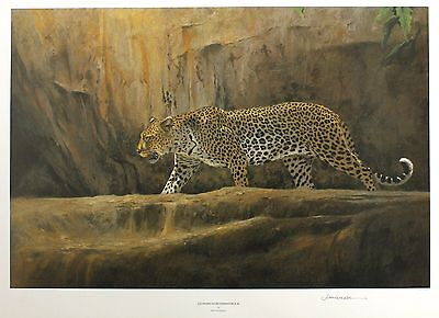 """KIM DONALDSON """"Leopard at Bushman Rock"""" big cat LE SGD! SIZE:46cm x 64cm NEW"""