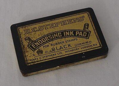 Vintage H.C.Stephens Endorsing Ink Pad Tin (B12)