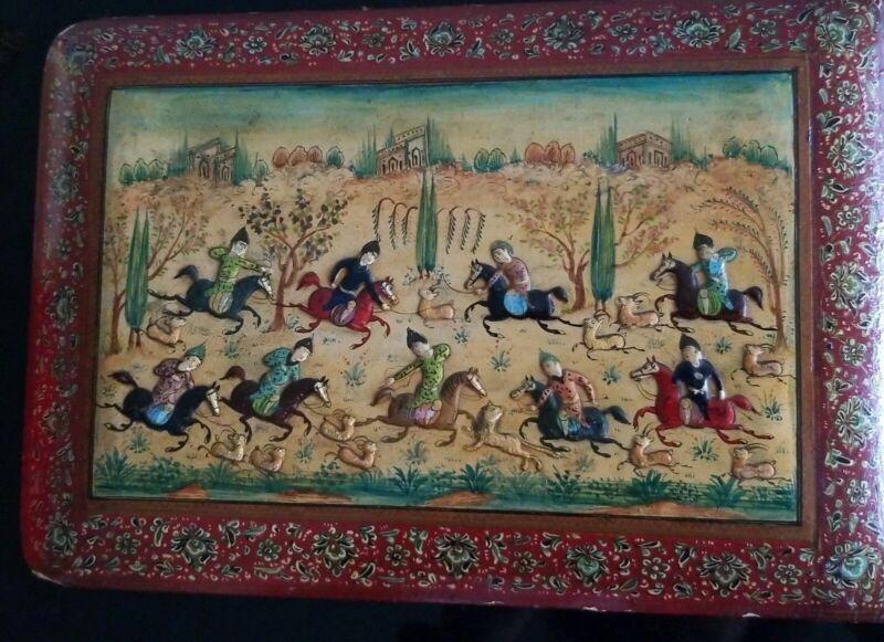 SUPERB ANTIQUE PERSIAN MINIATURE FINE PAINTING ENAMELED HUNTING SCENE PLAQUE