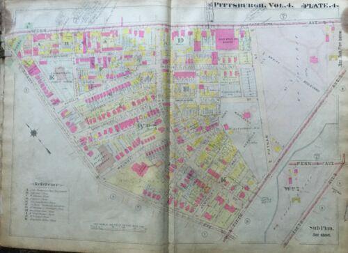 1911 SHADYSIDE PITTSBURGH PA SHAKESPEARE SCHOOL PENN-SHADY & FIFTH AVE ATLAS MAP
