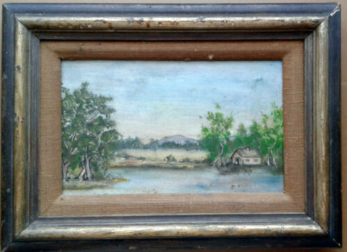 Landscape. Vintage Original Signed Oil on Masonite Painting by M. Stanska