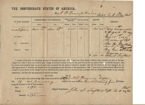 confederate military PAY VOUCHER-19, JANUARY, 1863---------$195., capt. TOMPKINS