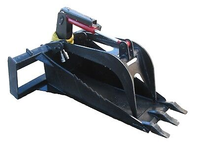Extreme Stump Bucket Grapple W Teeth Skid Steer Attachment Free Shipping