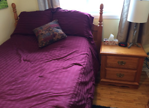 Double/queen bed and bedside table