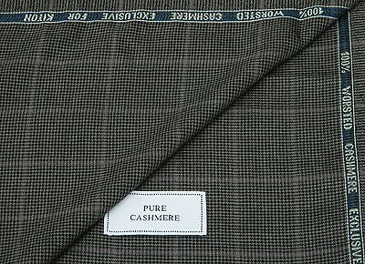 KITON 100% PURE WORSTED CASHMERE FABRIC, MIXTURE GREY/BLACK WITH LILAC CHECK