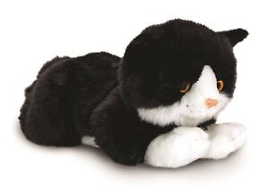 Keel Toys Signature 25cm Black and White Cat/Kitten Cuddly Plush Soft Toy SC1475
