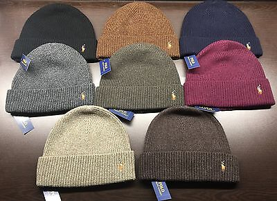 NEW Polo Ralph Lauren Men signature cuffed 100% MERINO WOOL hat beanie msrp $45