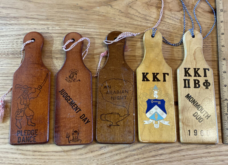 """5 miniature fraternity paddles wood 8"""" 1960s great graphics devil angel pirate"""