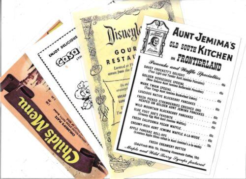 VINTAGE DISNEYLAND RESTAURANT MENU REPRINTS, PANCAKES, CHILD'S, THE GOURMET &  T