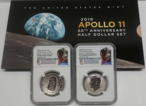 Apollo 11 50th Anniv 2019 Proof Half Set w/ Enhanced Rev PF Kennedy, NGC PF70