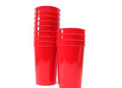 12 - Large Red 20 oz Plastic Drinking Glasses Cups  Mfg USA Dishwasher Safe