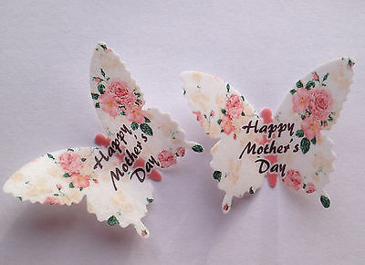 12 Happy Mothers Day Vintage Roses Rice Wafer Paper Butterflies Cupcake Toppers