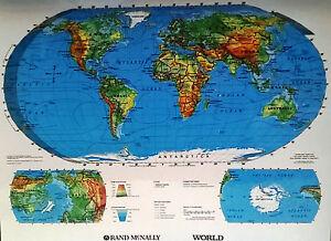 Rand McNally World Map Laminated Dry Erase Large 22x17 Wall Map Poster 2 Side