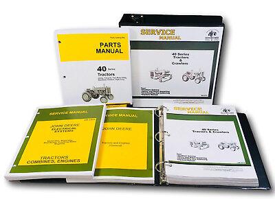 Service Parts Manual Set For John Deere 40 Tractor Crawler Dozer Repair Books