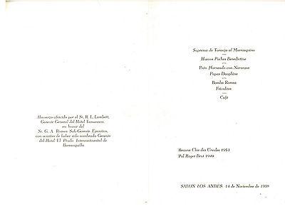 HOTEL TAMANACO INTERCONTINENTAL MENU R L LAMBERT GERENTE 1958 CARACAS VENEZUELA