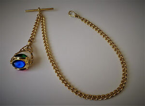 Gold Plated Albert Pocket Watch Chain & Spinner Fob.