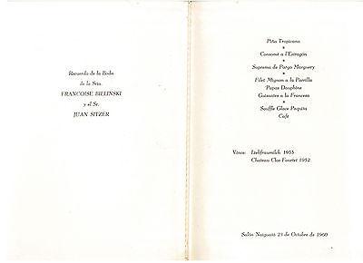 HOTEL TAMANACO INTERCONTINENTAL MENU FRANCOISE BIELINSKI 1960 CARACAS VENEZUELA