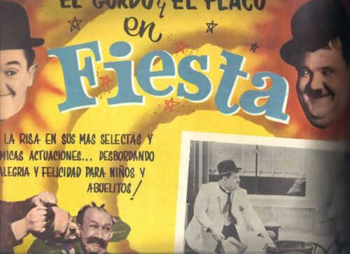 """Laurel and Hardy and Jimmy Finalyson Mexican Lobby Card """"Fiesta"""""""