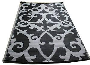 lightweight woven plastic mat indoor outdoor rug black grey psychedelic new ebay. Black Bedroom Furniture Sets. Home Design Ideas