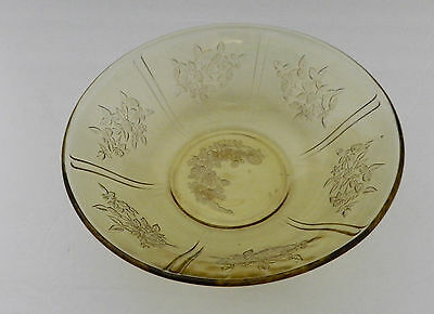 Sharon Cabbage Rose Yellow Amber Depression 8 1 2 In Round Serving Bowl Vintage