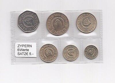 Zypern Münzsatz (vor Euro) 6 Werte Nr. 41/11/15/200