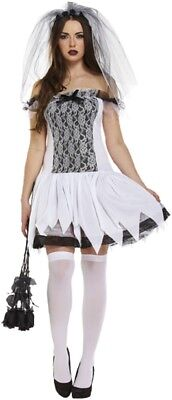 Ladies Glamorous Ghost Bride Halloween Horror Fancy Dress Costume Outfit 8-10-12