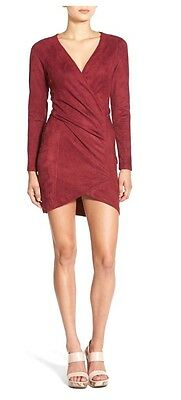 Nwt Missguided Wrap Front Faux Suede Dress 4  72
