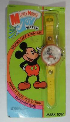 VINTAGE WALT DISNEY MICKEY MOUSE YELLOW BAND TOY WATCH MARX 1978 UNUSED ON CARD