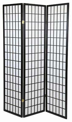 3 Panel Shoji Screem Room Divider/Privacy Wall With Rice Paper Screen Black ()