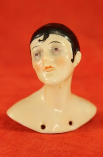 "Antique PIERROT German Porcelain 2"" Half Doll or Pin Cushion - Germany"