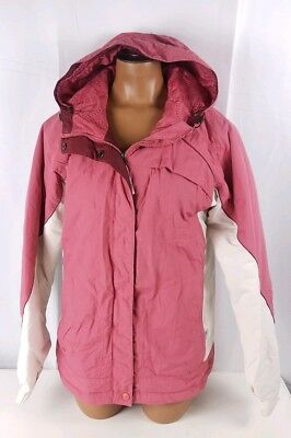Columbia Coat Fleece Lined Hooded Pink White Front Zip Womens Sz Small S