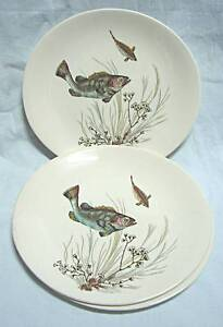 3 x Retro Vintage Johnson Bros Fish Bread and Butter plates Desig Kingswood Penrith Area Preview