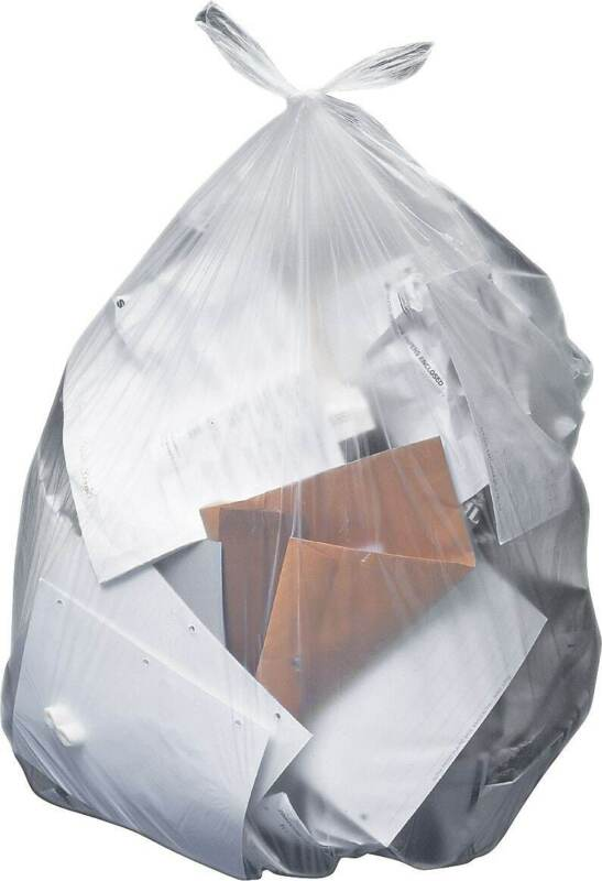 MyOfficeInnovations Trash Bags 55-60 Gallon 38x58 Low Density 1 Mil Clear 100 CT