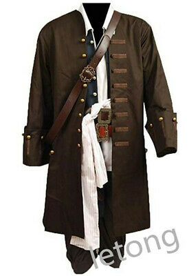 Pirates Of The Caribbean Outfit (Hot Pirates of the Caribbean Jack Sparrow Cosplay Costume Halloween Outfit)