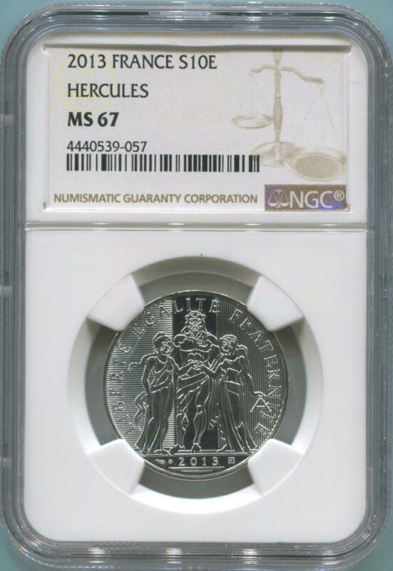 2013 France 10 Euro Silver Hercules. NGC MS67