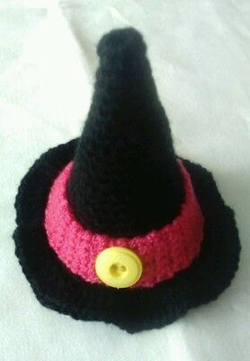 Hexen-Hut schwarz mit pinkem Hutband als Eierwärmer 10x10 cm