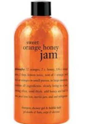 NEW 16 OZ Philosophy Sweet Orange Honey Jam Shampoo Shower Gel Bubble Bath
