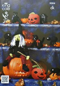 Knitting Pattern Halloween Witch/Cat/Pumpkin/Spider KC