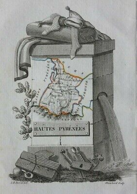 Miniature antique map, HAUTES PYRENEES, TARBES, FRANCE, Perrot, 1824