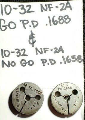 10 32 Unf 2a Thread Ring Gages Go No Go P.d. .1688 .1658