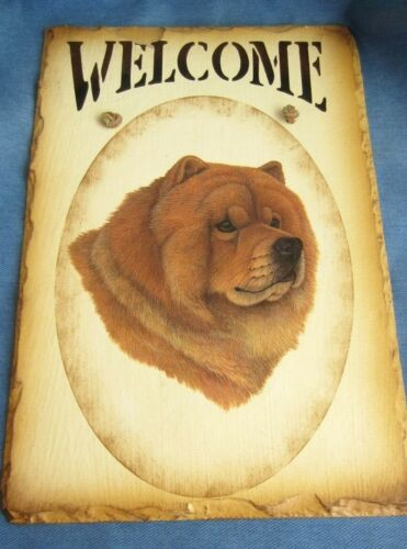 Original Hand Painted Chow Dog Slate Raw Hide Hanger Welcome Sign 12x8